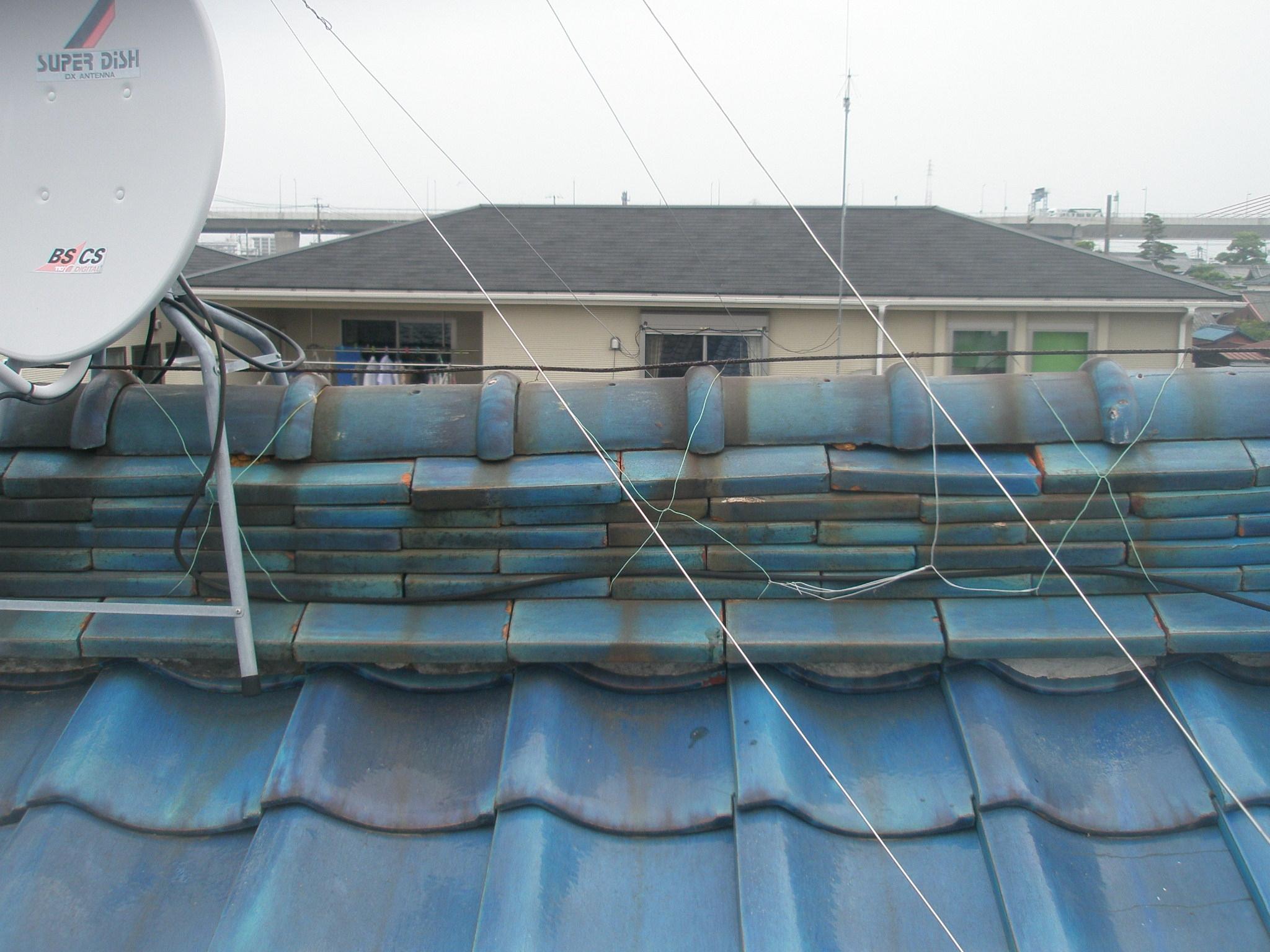 屋根修理 清須 青い瓦